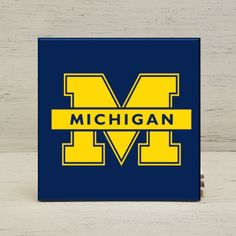 """University of Michigan Wolverines, Michigan Ceramic Tile Coasters 4.25"""" x 4.25"""", Set of 4, Gift by YourHomeState on Etsy"""