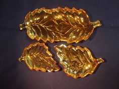 Vintage 3 Pc Peach Luster Iridescent Carnival Leaf Shaped Nesting Serving Dishes