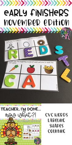 "All your students finish their work at different speeds and the fast finishers are always looking for what to do next. While you are helping your students who are still working use these engaging activities for your early finishers. Each set includes a variety of literacy and math activities to keep all your students focused and on task. No longer will you hear the phase, ""Teacher, I'm Done, Now What?!"" Click the picture to read more."