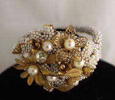 Vintage Miriam Haskell Baroque seed Pearl&Rhinestone Bracelet