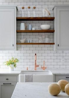 New Kitchen Shelves Copper Subway Tiles Ideas Diy Kitchen Cabinets, Farmhouse Sink Kitchen, Farmhouse Kitchen Decor, Kitchen Cabinets, Trendy Kitchen Tile, Wood Kitchen, Trendy Kitchen Backsplash, Modern Kitchen Design, Kitchen Renovation