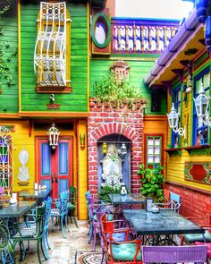 Opening a Restaurant? Opening A Restaurant, Cafe Restaurant, Restaurant Design, Beautiful Homes, Beautiful Places, Deco Retro, Colourful Buildings, Colorful Houses, Outdoor Cafe