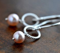 Light Pink Pearl Twisted Circle Sterling Silver Earrings - Dainty Pastel Pink Pearl Earrings, Pale Pink Freshwater Pearl Silver Earrings by MsBelle