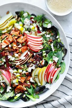 Fall Harvest Chopped Salad - This delicious fall harvest chopped salad is wonderfully simple, loaded with healthy ingredients and topped with an easy and tasty almond dijon apple dressing. This dairy free, gluten free salad is a must for fall. Autumn Chopped Salads, Fall Salad, Clean Eating Snacks, Healthy Eating, Eating Raw, Healthy Salads, Healthy Recipes, Avocado Recipes, Healthy Dishes