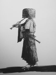 """The komusō (literally """"priest of nothingness"""" or """"monk of emptiness"""") were a group of Zen Buddhist mendicant monks who wandered the roads of Edo period Japan. They would play elaborate tunes on their bamboo flutes as they begged for alms, their faces (and thus, their ego) completely concealed by a distinctive hood woven from straws or reeds. Unsurprisingly, many were recruited as spies or were actually ninja or ronin in disguise, and eventually their temples and their schools were abolished…"""