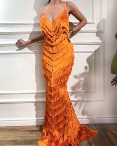Buy African New Mermaid Evening Dresses With Tassel 2018 Arabic Aibye Party Gowns Muslim Strapless Formal Prom Dress Robe de soiree Look Fashion, High Fashion, Travel Fashion, Dolce & Gabbana, Orange Dress, Orange Prom Dresses, Beautiful Gowns, Elie Saab, Dream Dress