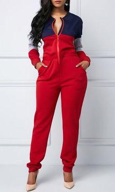 Color Block Zipper Up Pocket Jumpsuit Look Fashion, Autumn Fashion, Fashion Outfits, Womens Fashion, Formal Fashion, Christmas Fashion, Fashion Styles, Fashion Clothes, Fashion Ideas