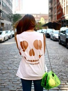 T-Shirt Makeovers - DIY Skull T-Shirt - Awesome Way to Upcycle Tees - Cool No Sew Tshirt Cutting Tutorials, Simple Summer Cutouts, How To Make Halter Tops and T-Shirt Dresses. Easy Tutorials and Instructions for Teens and Adults http:diyprojectsforteens.com/diy-tshirt-makeovers