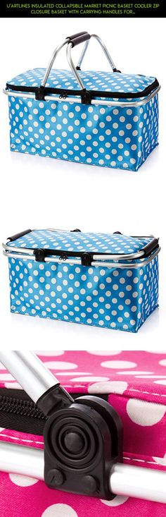 U'artlines Insulated Collapsible Market Picnic Basket Cooler Zip Closure Basket with Carrying Handles for BBQ's,Grocery Shopping,family picnic (Blue dots) #technology #for #zip #kit #plans #tech #clothes #fpv #gadgets #parts #products #drone #storage #bags #camera #shopping #racing