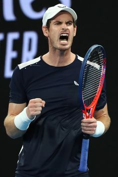 Day 1: Andy Murray of Great Britain celebrates a point in his first round match against Roberto Bautista Agut of Spain during day one of the 2019 Australian Open at Melbourne Park on January 14, 2019 in Melbourne, Australia.