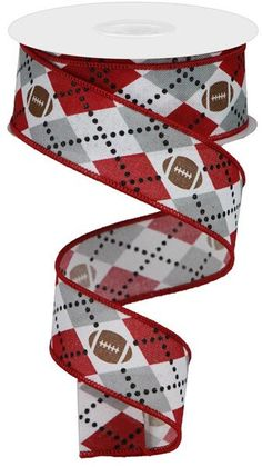 Excited to share this item from my #etsy shop: White Grey and Crimson Argyle W/ Footballs on Wired Royal Ribbon, 1.5 inch ribbon, College ribbon, RG137502, Football ribbon #red #gray #waysidewhimsy #wiredribbon #college Sports Wreaths, Browns Football, Floral Ribbon, Wired Ribbon, Deco Mesh, Vintage Floral, Alabama, Burlap, College