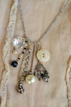 Vintage Assemblage Charm Necklace with Glass Czech Seed Beads, Pearls, Crystals, Rhinestones, Buttons and Other Vintage Elements Diamond Solitaire Necklace, 14k Gold Necklace, Cluster Necklace, Seed Bead Necklace, Diy Necklace, Necklace Designs, Seed Beads, Necklace Charm, Necklace Ideas