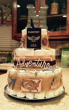 Travel themed diaper cake