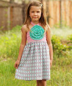 Coral & Teal Blooming Rose Dress - Toddler & Girls #zulily #zulilyfinds