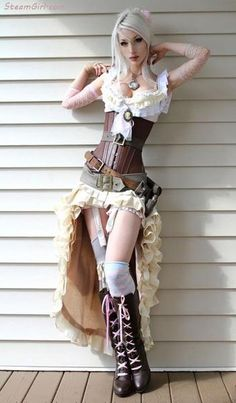 Steampunk White Dress With Corset