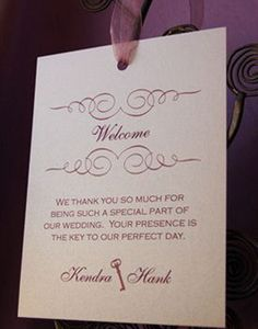 Kendra & Hank welcome note to guest at their wedding