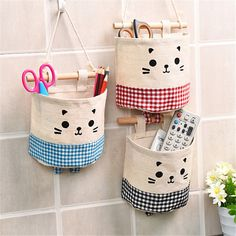 £2.19 GBP - 1X Cotton & Linen Fabric Cute Cartoon Door Wall Hanging Storage Bag Sundries Box #ebay #Home & Garden