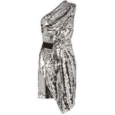 Carven One Shoulder  Sequin Dress (580 BAM) ❤ liked on Polyvore featuring dresses, short dresses, silver, sequined dress, short white dresses, sequin cocktail dresses and one shoulder dress