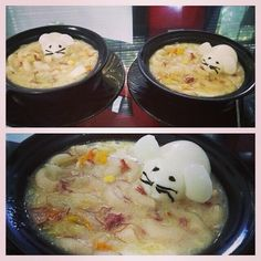"""Made """"sopas"""" a filipino soup that's best eaten during rainy season :) although this has been a staple dish for our family :) - added """"mouse"""" made from boiled egg and details with nori :)"""