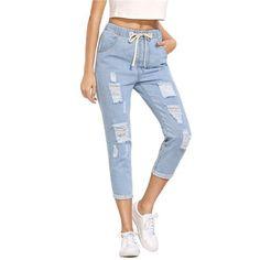 4a1e853bdf SHEIN Women Summer Pants Casual Trousers for Ladies Blue Ripped Mid Waist  Drawstring Skinny Denim Calf Length Jeans