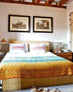 Spanish bedroom with colorful bedding