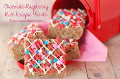 Chocolate Raspberry Rice Krispie Treats!  Valentine's Day Treat