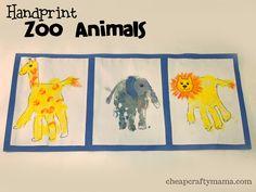 Handprint Zoo Animals from Cheap Crafty Mama! #GaleriAkal Untuk berbagi ide dan kreasi seru si Kecil lainnya, yuk kunjungi website Galeri Akal di www.galeriakal.com Mam!