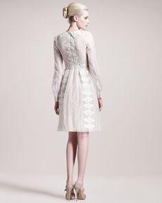 Valentino Long-Sleeve Embroidered Dress - Bergdorf Goodman