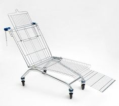 example of recycled furniture - a shopping cart lounger
