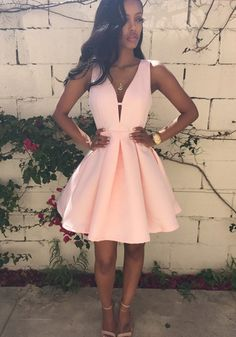 Pink Plain Pleated Zipper V-neck Sleeveless Mini Dress