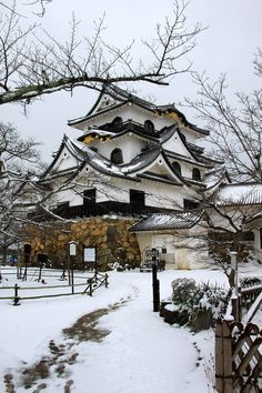 Hikone Castle in the Snow - Hikone, Japan - Photo it's snowing in my country