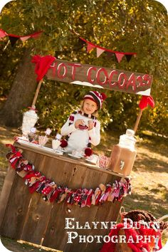 Lemonade stand in the summer...how about a Hot Cocoa stand in the winter! {by Giggles Galore}