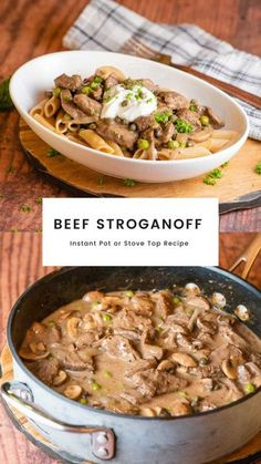 You will love this easy Beef Stroganoff recipe which is healthier and cooks in the Instant Pot or Crockpot Slow Cooker making the meat nice and tender. #beefstroganoffrecipe #beefstroganoff #beefstroganoffinstantpot #beefstroganoffcrockpot #beefstroganoffslowcooker
