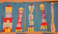 Leuke boekenlegger voor groep 3: knip je eigen letters uit en plak het op in de vorm van een naamraket. First Day Of School, Pre School, Creative Inspiration, Homeschool, Classroom, Teacher, Letters, Kids, Toddlers
