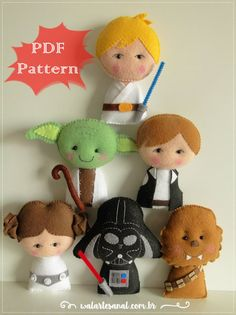 Hello, may the force be with you :) Welcome to Wal Artesanal Shop, You are purchasing a PATTERN ONLY (PDF) for a STAR WARS pocket version. Suggested Use: finger puppets, pillows, maternity box, crib mobile, baby shower and more!! This PDF contains: - Photo of 06 characters from the Star Wars saga finalized - File: 12 pages - Size: 6 approximately (13cm) - Language: English This PDF dont have tutorial, step by step or instruction for make the finished doll. You can instantly download...