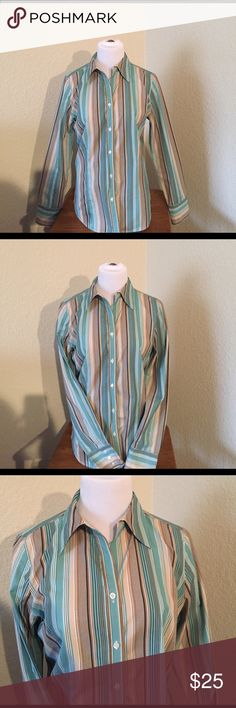 Size 8 Loft button down shirt Loft button down striped shirt. Size 8. Tiny spot on the sleeve. See picture. Great colors for Spring. LOFT Tops Button Down Shirts