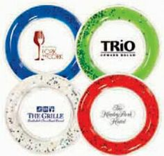 beverage pad with freezable liquid ring Keeps beverages cool. Place on top of traditional coaster or cocktail napkin. Glittery stars inside the liquid. T Promotions Plus