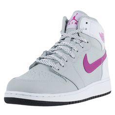 new product 25fca bde47 Nike girls air jordan 1 retro high gg grey mist fuchsia flash white 332148  018
