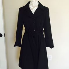 """Alfani black Trench coat  Alfani black Trench coat size Medium. Gently used and in excellent condition. Measurements:  length 39"""", sleeve 24.5"""", waist 36"""". Sleeves designed to be folded if too long. 65% cotton 35% nylon. Alfani Jackets & Coats Trench Coats"""