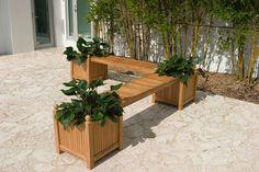 2 Teak Planters and 1 Teak Seat Panel Set from Westminster Teak Furniture