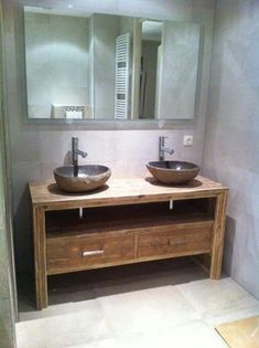 Meuble salle de bain Pays Bois avec 2 tiroirs. Contemporary Shower, Contemporary Vanity, Stone Bathroom Sink, Small Bathroom, Bathroom Organisation, Home Organization, Restaurant Bathroom, Vessel Sink Vanity, Shower Units