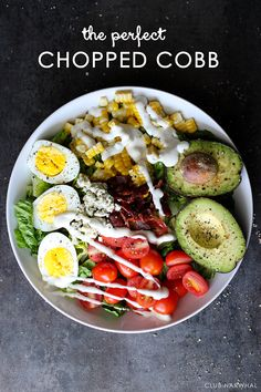 Skinny Chopped Cobb Salad from Club Narwhal and 6 other Summer Vegetable Recipes- no corn and homemade dressing Healthy Snacks, Healthy Eating, Healthy Recipes, Chopped Cobb Salad, I Love Food, Good Food, Summer Vegetable Recipes, Summer Salads, Soup And Salad