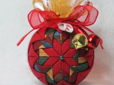 Quilted Christmas Ornament no sew red sparkle by KCFabricOrnaments, $15.00