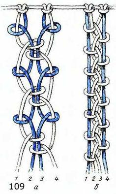Ажурные цепочки в макраме