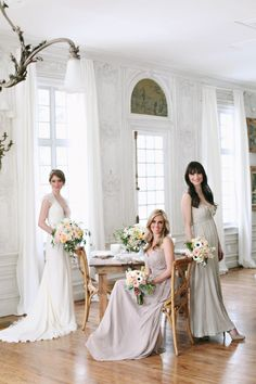 Beautiful bridesmaids in a light filled room - A Styled Shoot by Michelle Leo Events - Jacque Lynn Photography