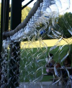 Plastic cascade Jillian Storms, Art on the Trail, Gwynn's Falls park. Water Bottle Crafts, Plastic Bottle Flowers, Plastic Bottle Crafts, Plastic Art, Recycle Plastic Bottles, Recycled Art Projects, Recycled Crafts, Diy Projects, Soda Bottles