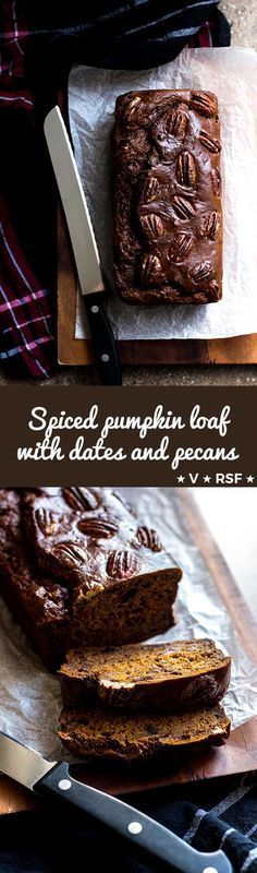 A dark and moist pumpkin loaf sweetened with dates, fragrant with pumpkin pie spices and topped with pecans (vegan and refined sugar free). via @quitegoodfood
