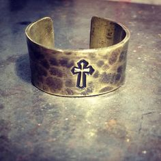 hammered brass cuff ring // crucifix ring // cross ring //