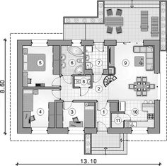 Projekt domu Aurora Midi III 84,4 m2 - koszt budowy - EXTRADOM Small Modern Home, Small House Plans, Custom Homes, New Homes, Floor Plans, Cottage, House Design, How To Plan, Architecture