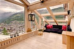 This room with fantastic mountain views is located in Zermatt, Switzerland.